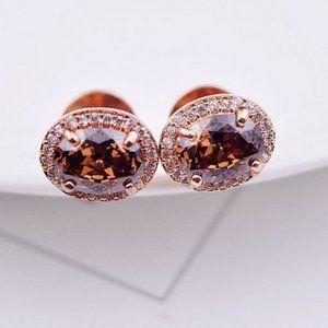 Henri Bendel Brown Oval Zircon Stud Earrings